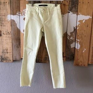 Joe's Jeans lemon lime skinny crop raw fringe hem